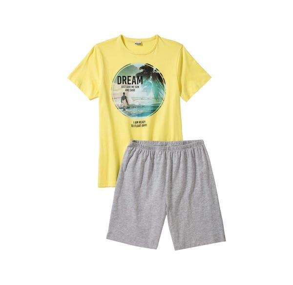 Jungen-Shorty mit Strand-Frontaufdruck, 2-teilig