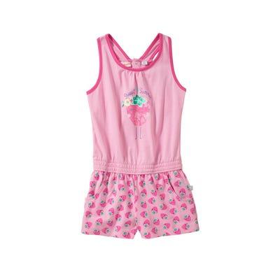 Baby-Mädchen-Jumpsuit mit Erdbeer-Muster