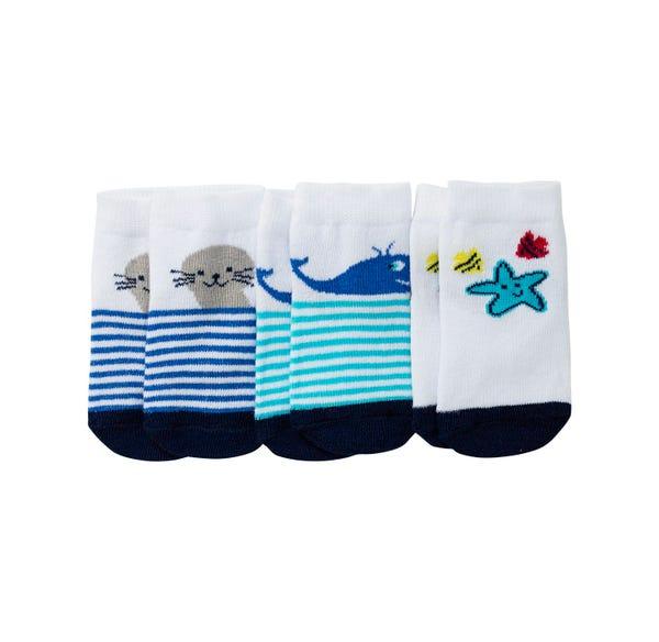 Baby-Jungen-Sneaker-Socken mit Meerestieren, 3er Pack
