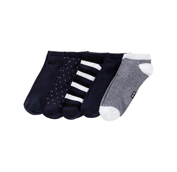 Herren-Sneaker-Socken mit verschiedenen Mustern, 5er Pack
