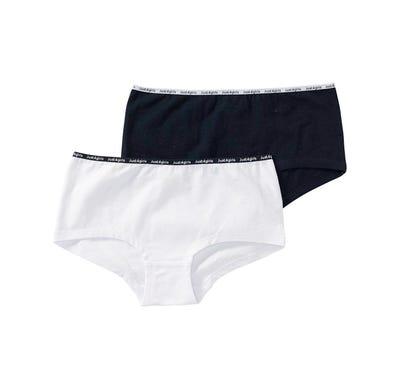Mädchen-Panty mit bedrucktem Bund, 2er Pack