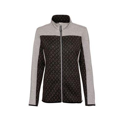 Damen-Strickfleece-Jacke mit Karo-Einsatz