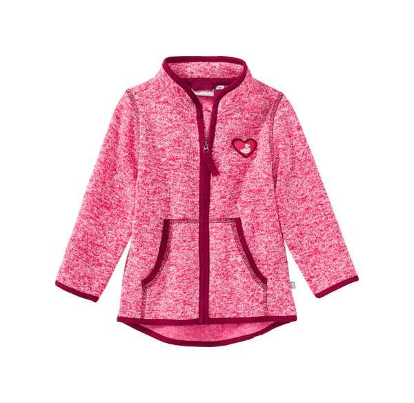 Baby-Mädchen-Strickfleece-Jacke mit Herz-Applikation