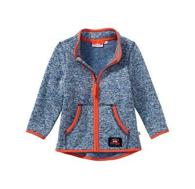 Baby-Jungen-Strickfleece-Jacke mit Auto-Applikation