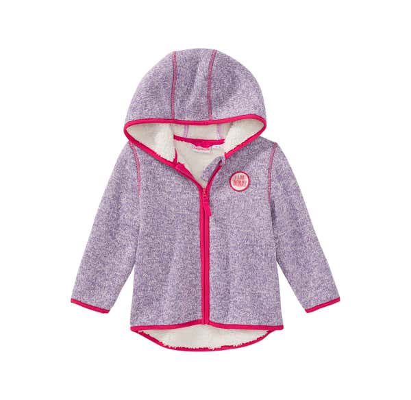 Baby-Mädchen-Strickfleece-Jacke mit Teddy-Futter