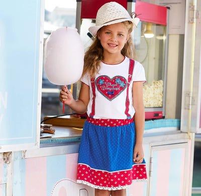 Mädchen-Trachtenrock mit Baumwollspitze