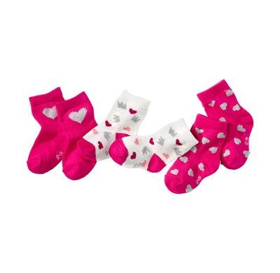 Baby-Mädchen-Socken mit niedlichen Herzen, 3er Pack