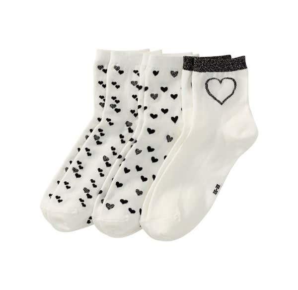 Damen-Socken mit Herzmuster, 3er Pack