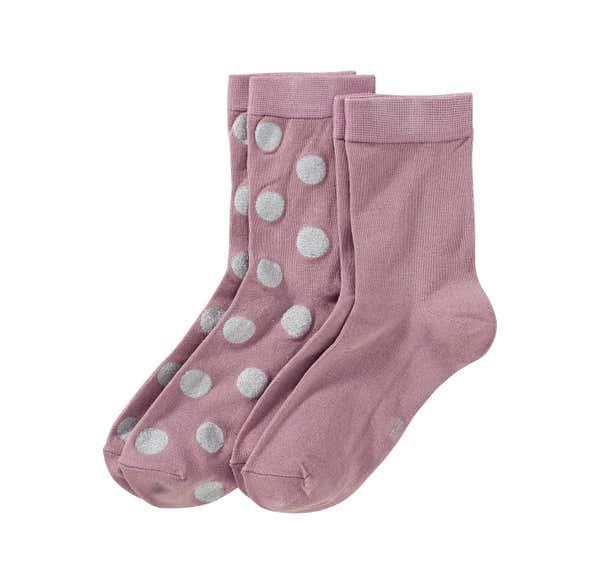Damen-Socken mit Glitzer-Punkten, 2er Pack