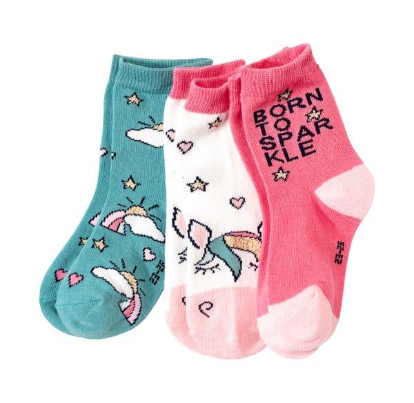 Kinder-Mädchen-Socken in zauberhaften Designs, 3er Pack