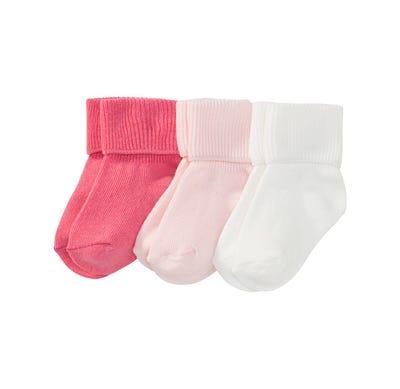 Baby-Socken mit Umschlagbund, 3er Pack