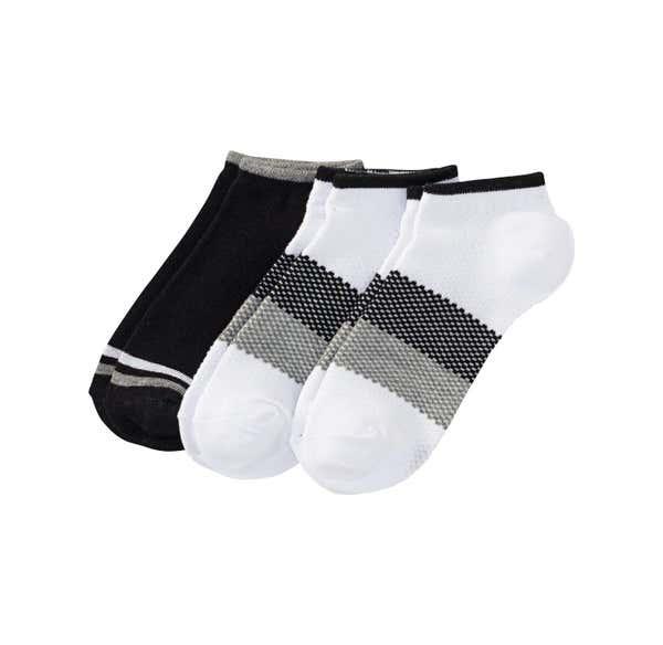 Damen-Sneaker-Socken mit trendigen Streifen, 3er Pack