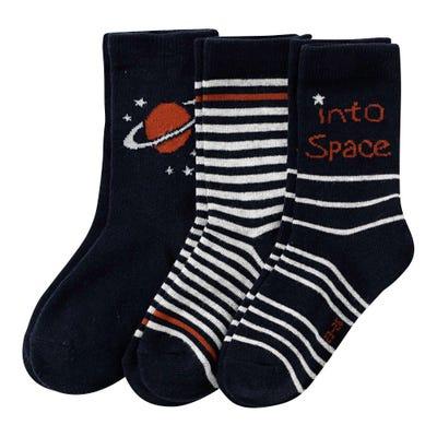 Jungen-Socken mit Weltraum-Design, 3er Pack