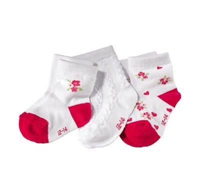 Baby-Mädchen-Socken mit kleinen Herzchen, 3er Pack