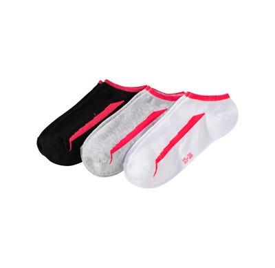 Unisex Sneaker-Socken mit Kontrast-Streifen, 3er Pack