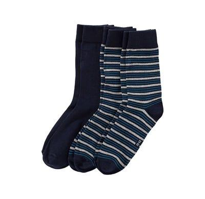 Herren-Socken mit Ringelmuster, 3er Pack