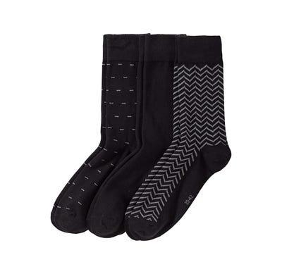 Herren-Socken mit Zickzack-Muster, 3er Pack