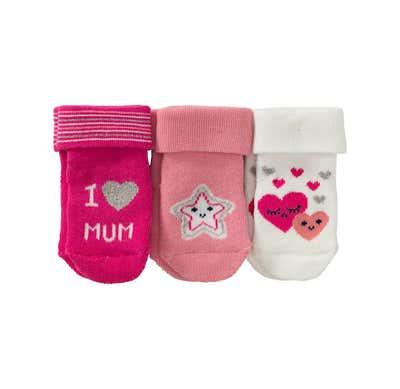 Baby-Mädchen-Frottierflausch-Socken, 3er Pack