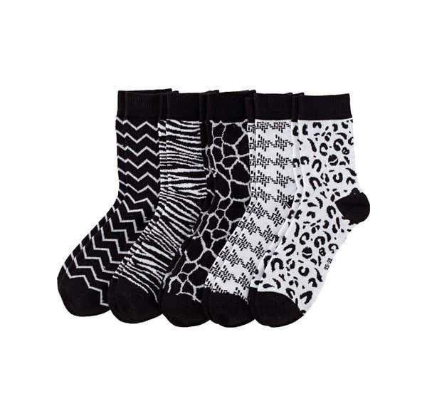 Damen-Socken mit Tiermuster, 5er Pack