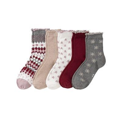 Damen-Socken mit Mäusezähnchen, 5er Pack