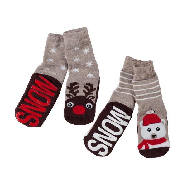 Kinder ABS-Socken mit Wintertieren, 2er Pack