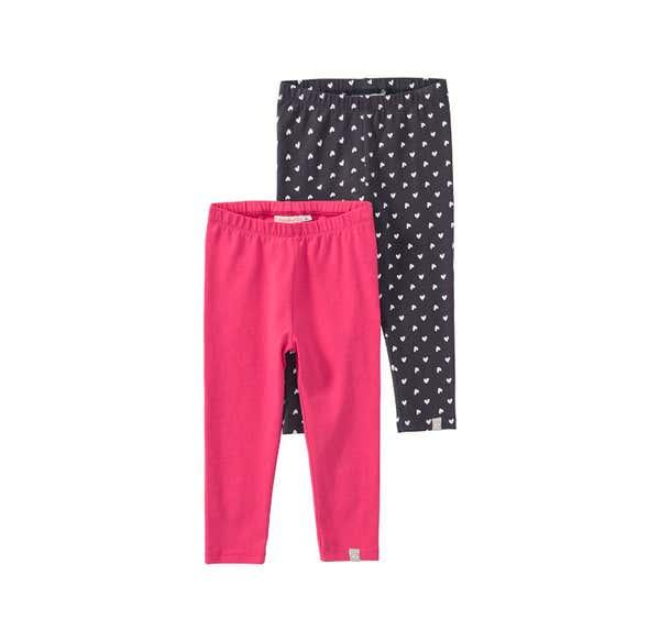 Baby-Mädchen-Leggings mit Herzmuster, 2er Pack