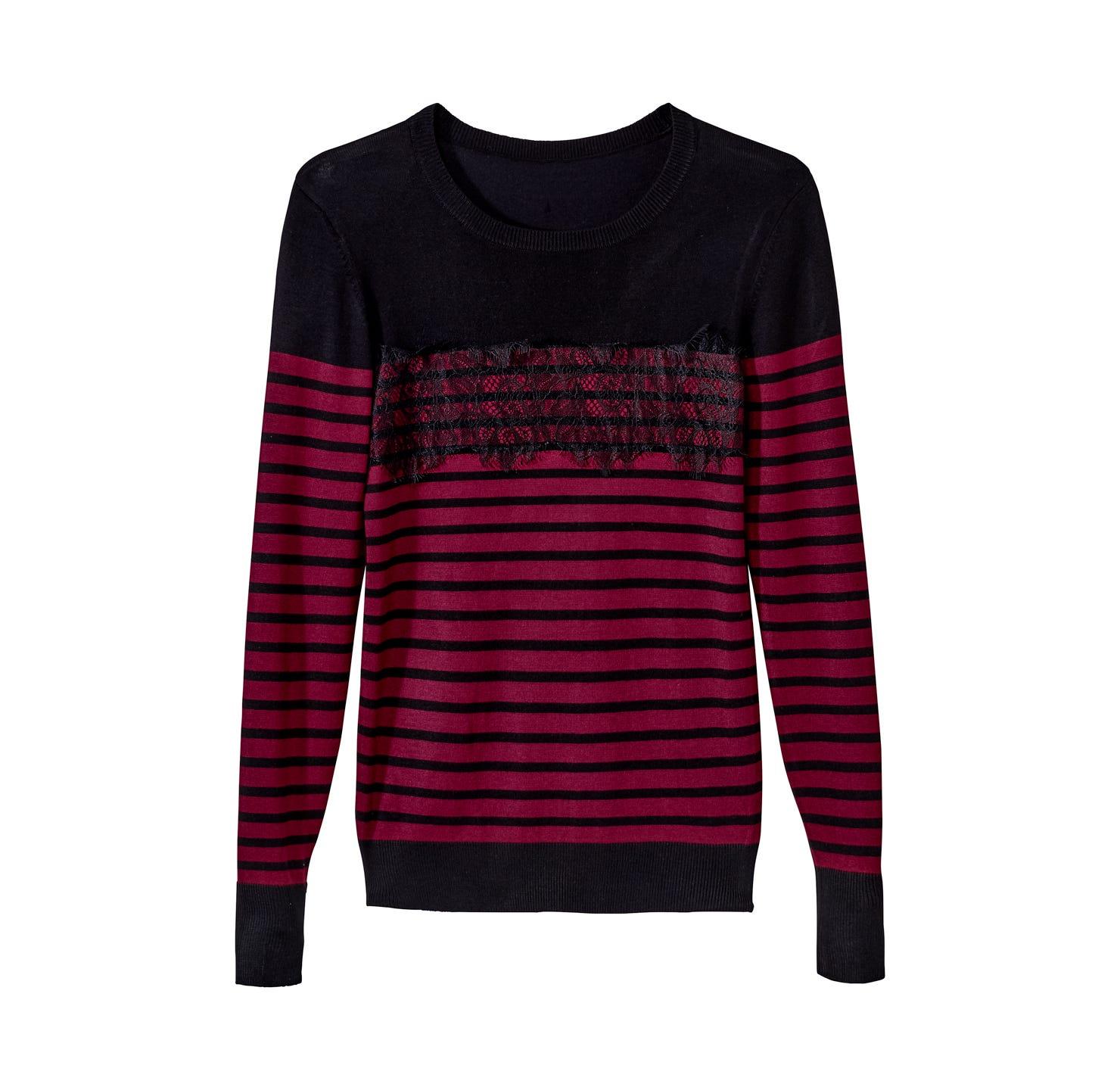 Damen Pullover mit Spitzeneinsatz an der Schulter | NKD