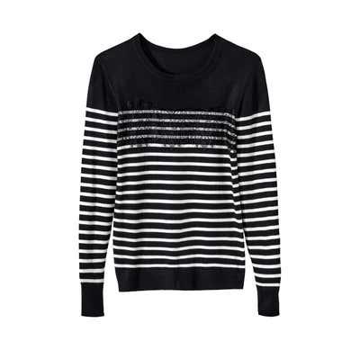 Damen-Pullover mit aufgesetzter Spitze