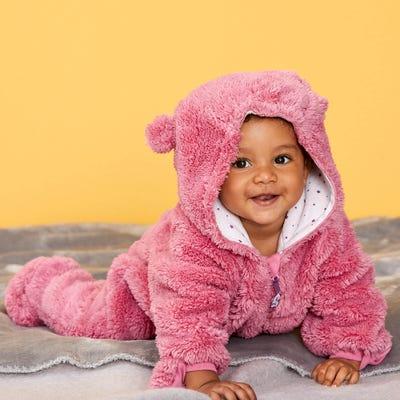 Baby-Mädchen-Overall mit flauschigem Plüsch