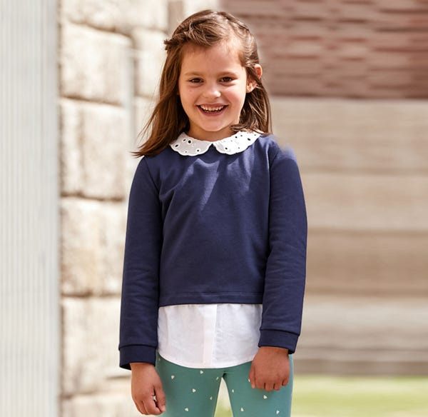 Mädchen-Sweatshirt mit hübschem Spitzenkragen