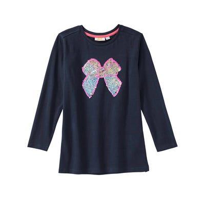 Mädchen-Shirt mit Schleife aus Wendepailletten