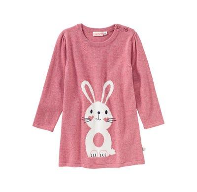 Baby-Mädchen-Strickkleid mit Hasen-Motiv