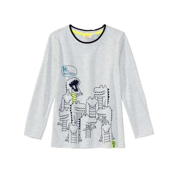 Jungen-Shirt mit Krokodil-Frontaufdruck