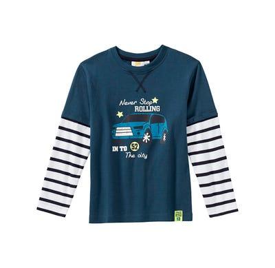 Jungen-Shirt mit gestreiften Ärmeln