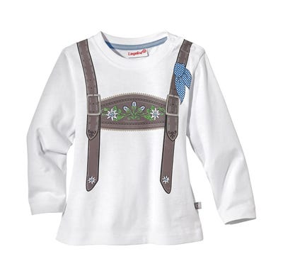 Baby-Jungen-Trachten-Shirt mit Hosenträger-Druck