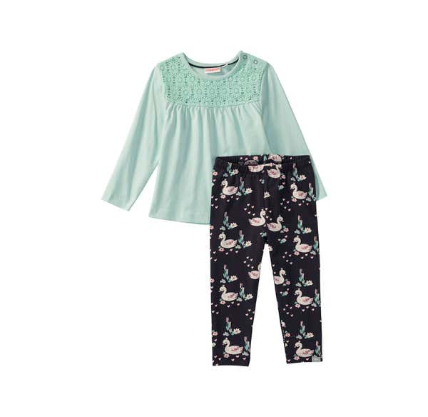 Baby-Mädchen-Set mit Schwanen-Muster, 2-teilig