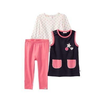 Baby-Mädchen-Set mit hübschem Kleid, 3-teilig