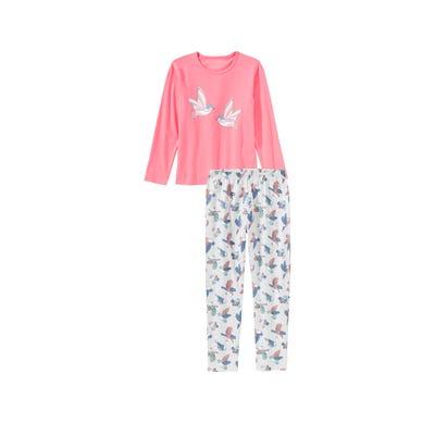 Mädchen-Schlafanzug mit Vogel-Frontaufdruck, 2-teilig