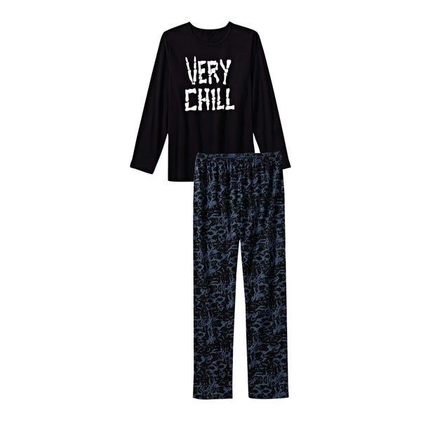 Jungen-Schlafanzug mit coolem Frontaufdruck, 2-teilig