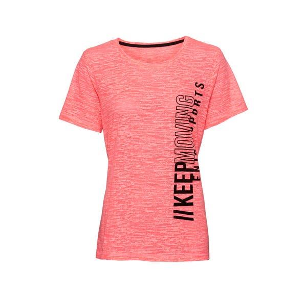 Damen-Fitness-T-Shirt mit Ausbrenner-Muster