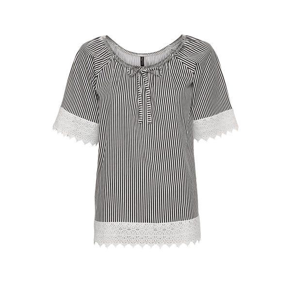 Damen-Bluse mit modischer Spitzenverzierung