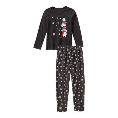 Mädchen-Schlafanzug mit Eisbären-Frontaufdruck, 2-teilig