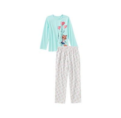 Mädchen-Schlafanzug mit Fuchs-Frontaufdruck, 2-teilig
