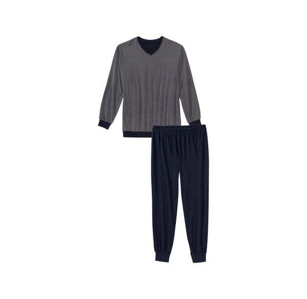 Herren-Schlafanzug mit modischem Muster, 2-teilig