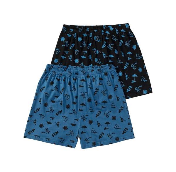 Herren-Boxershorts mit Strand-Muster, 2er Pack