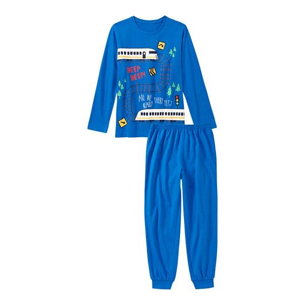 Jungen-Schlafanzug mit Eisenbahn-Frontaufdruck