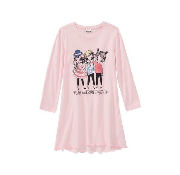 Mädchen-Nachthemd mit Freundinnen-Frontaufdruck