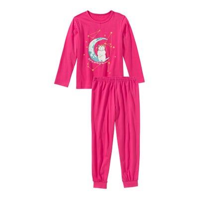 Mädchen-Schlafanzug mit Mond-Frontaufdruck, 2-teilig