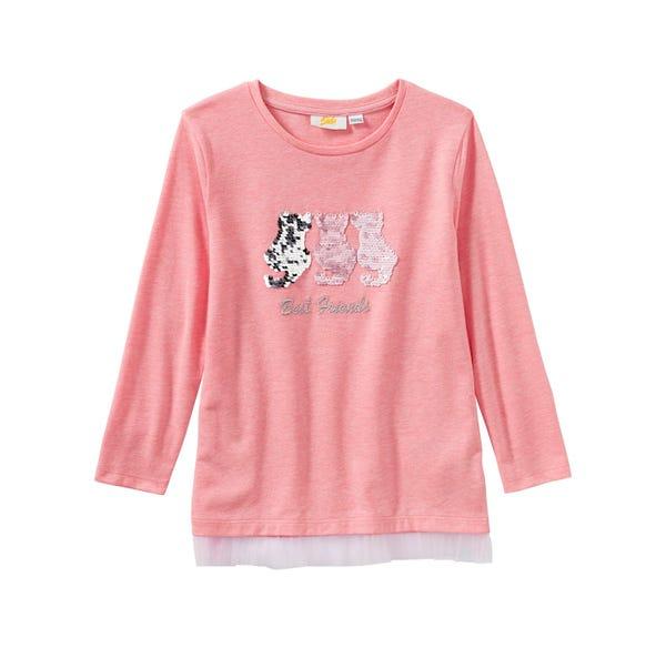 Mädchen-Shirt mit Katzen aus Wendepailletten