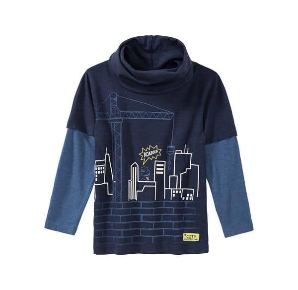 Jungen-Shirt mit Großstadt-Frontaufdruck